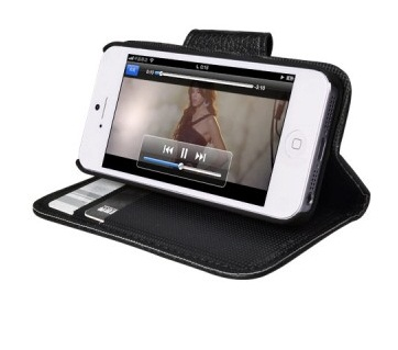 IF-5H-BLK PU Leather Stand Case iphone 5